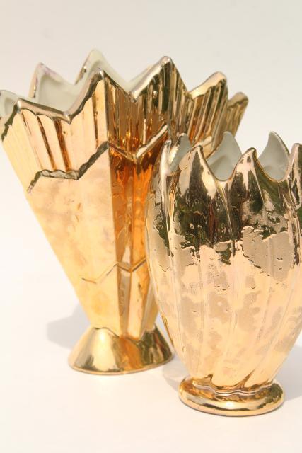 Vintage Weeping Gold Lotus Ceramic Planter