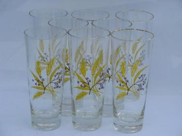 vintage gold golden wheat pattern ice tea glasses, tall glass coolers tumblers