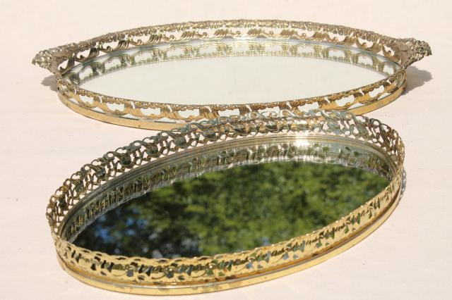 Vintage Gold Lace Filigree Vanity Tray Mirrors Mirrored