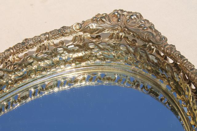 vintage gold lace filigree vanity tray mirrors, mirrored glass perfume trays