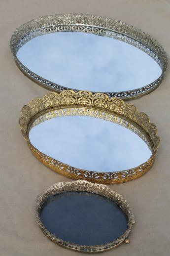 Vintage Gold Lace Filigree Vanity Tray Mirrors Mirrored Glass