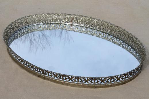 vintage gold lace filigree vanity tray mirrors, mirrored glass perfume trays - Vintage Gold Lace Filigree Vanity Tray Mirrors, Mirrored Glass