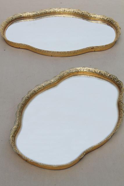 vintage gold lace filigree vanity tray mirrors, mirrored glass perfume trays - Vintage Gold Lace Filigree Vanity Tray Mirrors, Mirrored Glass