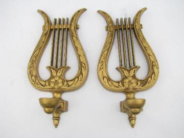 vintage gold metal lyres or harps, french provincial music room wall sconces