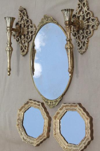 vintage gold rococo boudoir collection, perfume tray, metal sconces, baroque mirrors