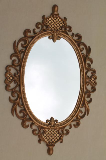 Vintage Gold Rococo Frame W Oval Glass Mirror Cinderella