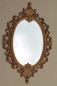 vintage gold rococo frame w/ oval glass mirror, Cinderella french brocante style!