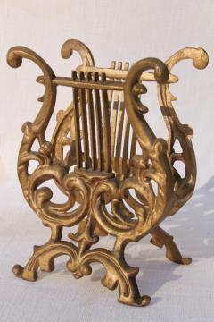 vintage gold rococo ornate cast metal lyre harp music stand / magazine rack