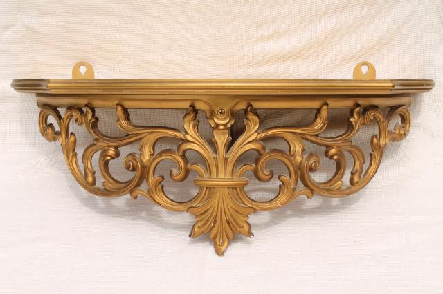 Vintage Gold Rococo Ornate Scrolls Wall Mount Bracket