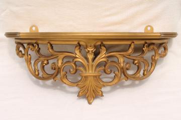 Vintage Gold Rococo Ornate Scrolls Wall Mount Bracket Shelf For Clock Or Bric A Brac