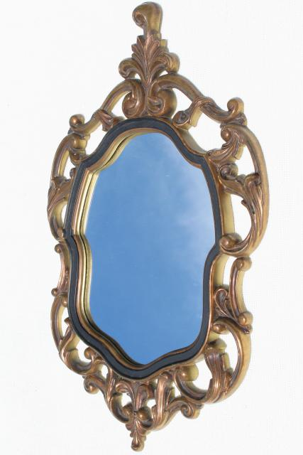 vintage gold rococo plastic frame mirror, mid-century Turner wall art