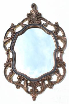 vintage gold rococo plastic frame mirror, mid-century Turner wall art