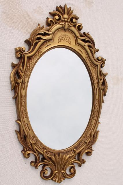 Vintage Gold Rococo Plastic Frame Oval Wall Mirror French