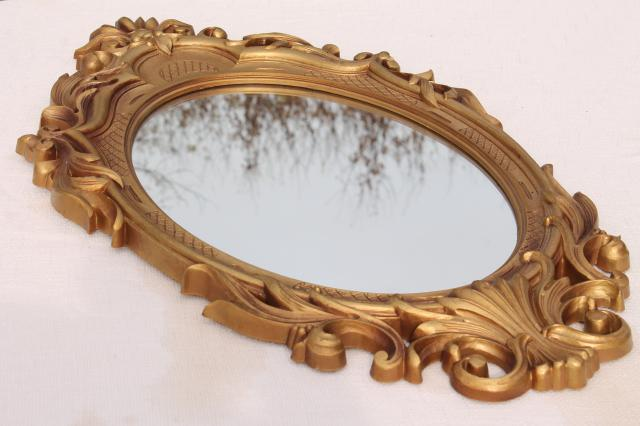 vintage gold rococo plastic frame oval wall mirror, french country style