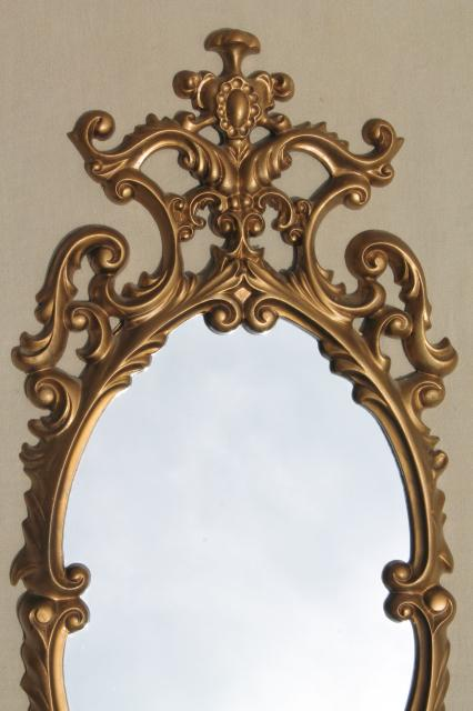 Vintage Gold Rococo Plastic Wall Mirror Petite Size