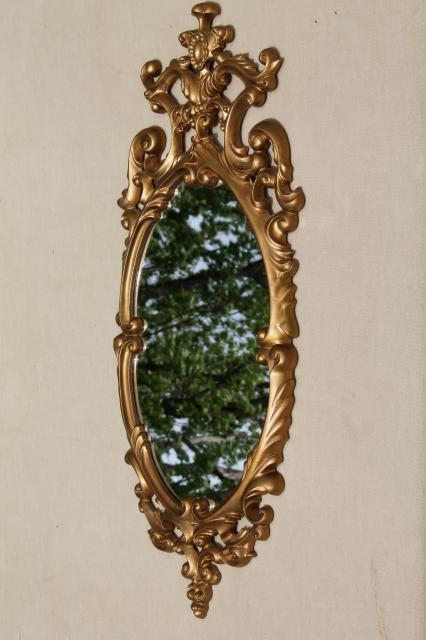 vintage gold rococo plastic wall mirror, petite size ornate french country frame