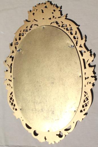 vintage gold rococo wall mirror, ornate Syroco Wood frame w/ oval glass