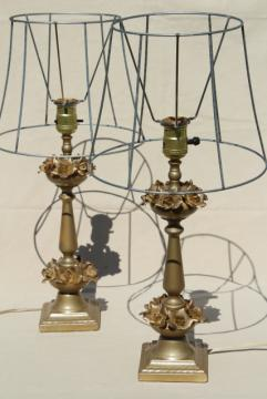 vintage gold roses table lamps w/ wire shades, shabby french / hollywood regency