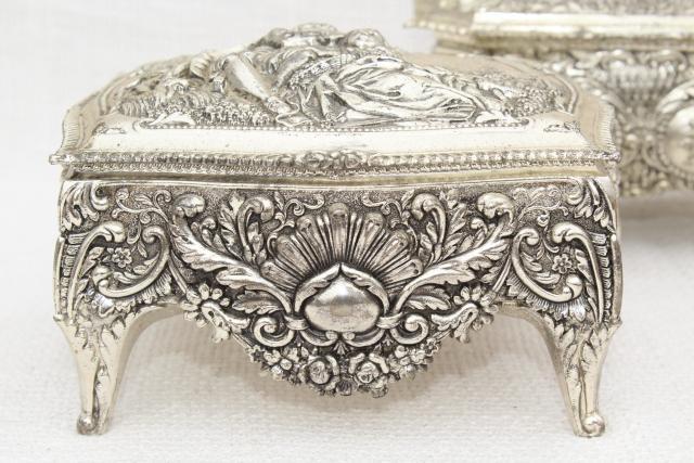 vintage gold metal jewelry box