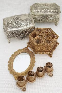 vintage gold & silver metal vanity table accessories, lipstick holders, tray, jewelry boxes