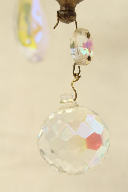 vintage gold swag lamp chandelier, hanging light w/ iridescent glass teardrop prisms
