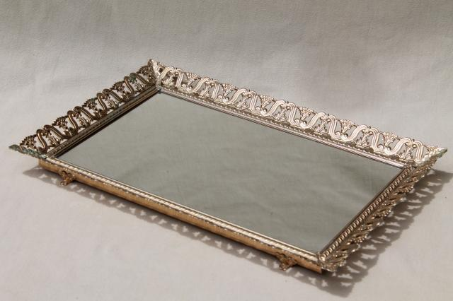 vintage gold tone metal lace filigree vanity mirror to stand, hang or use  as table tray - Vintage Gold Tone Metal Lace Filigree Vanity Mirror To Stand, Hang
