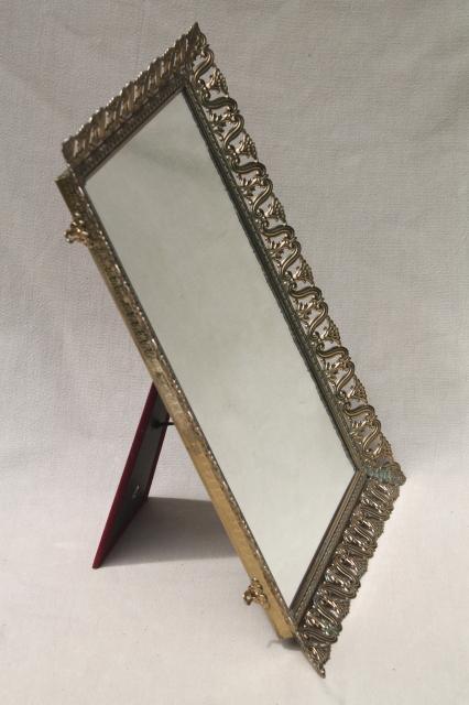 Vintage Gold Tone Metal Lace Filigree Vanity Mirror To Stand Hang
