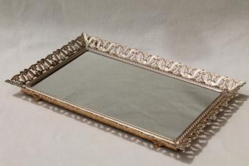 vintage gold tone metal lace filigree vanity mirror to stand, hang or use as table tray