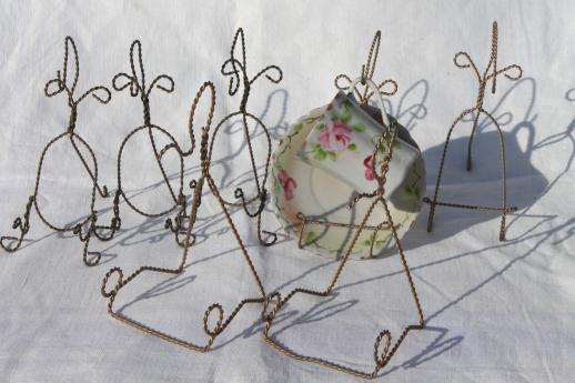 Vintage Gold Twisted Wire Display Stand Racks Tea Cups Saucer Holders Impressive Cup And Saucer Display Stands