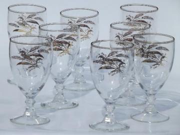 vintage golden wheat wine glasses, gold wheat sheaf goblets set of 8