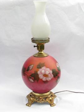 vintage gone with the wind lamp, hand-painted globe milk glass shade
