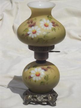 Vintage Gone With The Wind Lamp Little Daisies Hand Painted Gl Shade