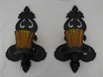 vintage gothic art metal wall sconces w/ amber glass candle lanterns
