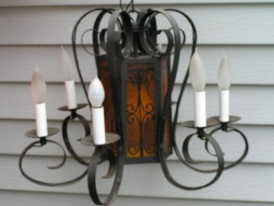 vintage gothic chandelier, painted glass panels