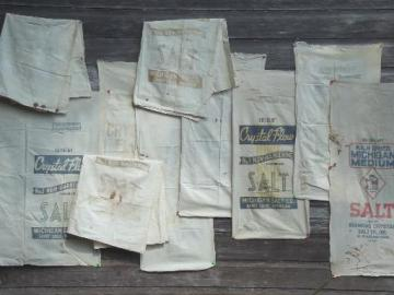 vintage grain bag fabric, old farm salt feed sacks w/ printed advertising