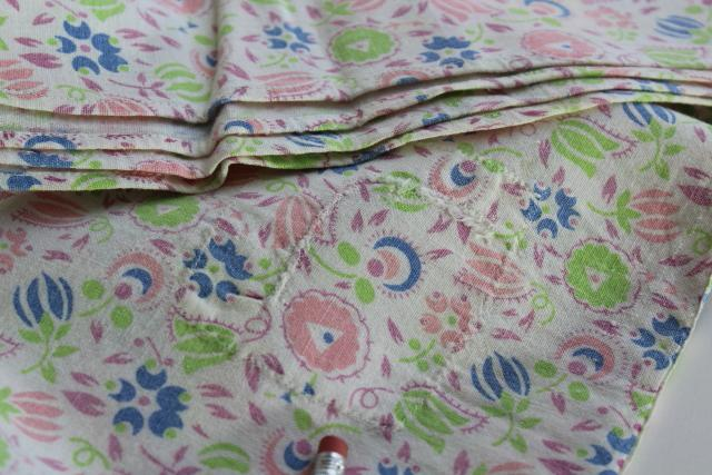 vintage grain sack bed sheets, farmhouse style cotton print feedsack bedding handmade