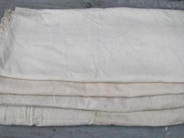 vintage grain sack feed bag lot, primitive old natural cotton fabric