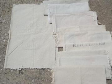 vintage grain sack seed bag lot, primitive old natural cotton fabric