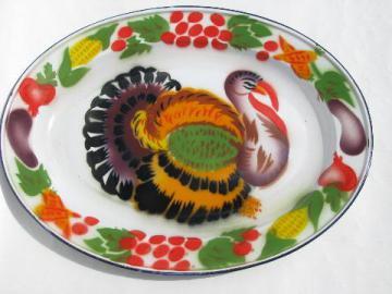 vintage graniteware enamel Thanksgiving turkey platter