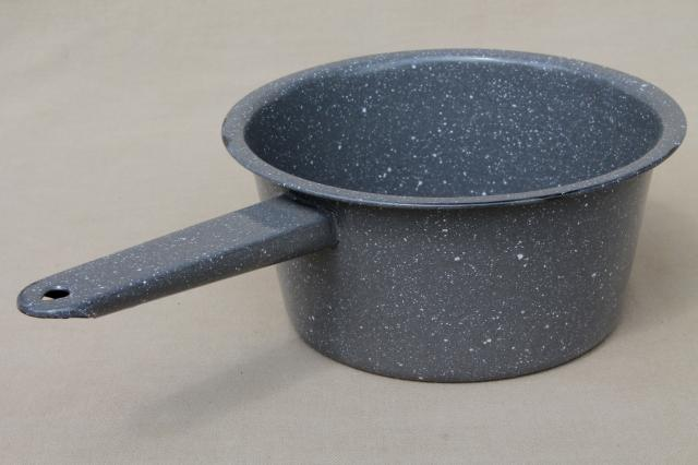 vintage graniteware enamel sauce pans, all metal camp cookware cooking pots