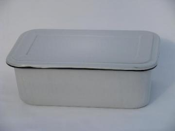 vintage graniteware enamel storage box w/ cover, fridge or kitchen bin