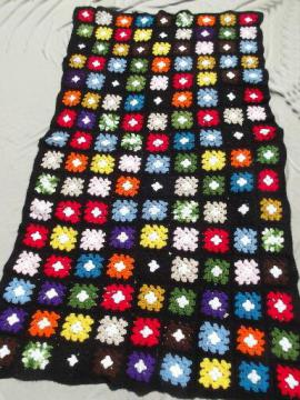 vintage granny crochet afghan, retro blanket in black w/ brights grannies