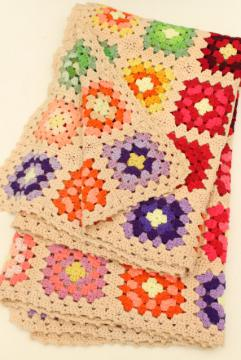 vintage granny square afghan, cozy cottage chic crochet wool throw flower garden colors