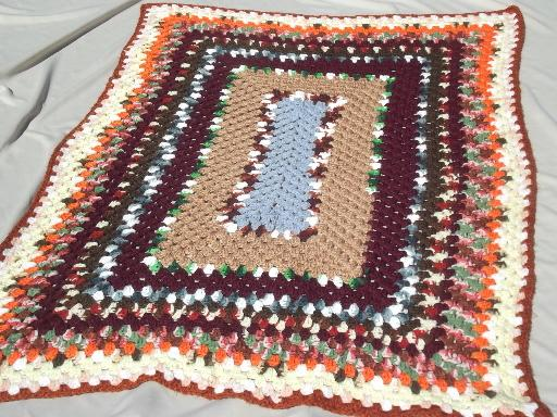 vintage granny square crochet afghan, snuggly blanket in retro fall colors