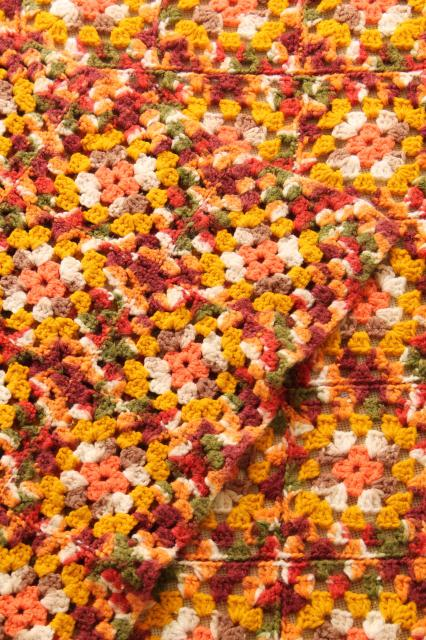vintage granny square crochet afghan throw blanket in retro fall colors