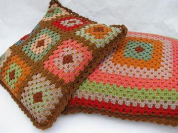 vintage granny square crochet, pair wool throw pillows