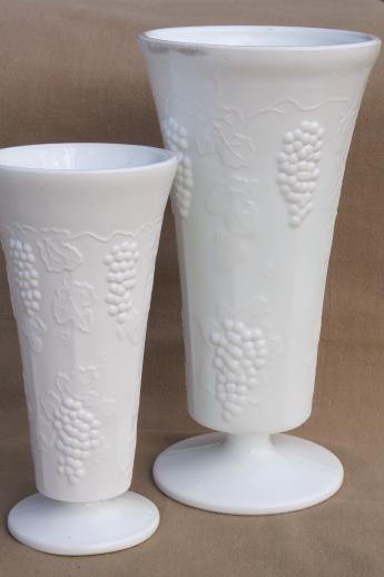 Vintage Grape Pattern Milk Glass Vases Amp Flower Bowls Indiana Harvest Grapes