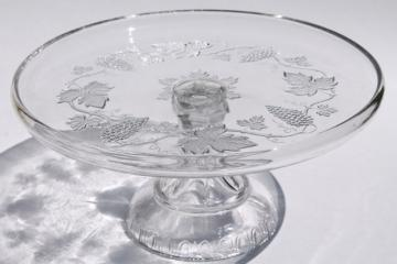 vintage grapes grape pattern glass cake stand, crystal clear pedestal plate w/ rim