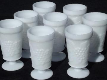 vintage grapes milk glass, 8 Anchor Hocking round footed tumbler glasses