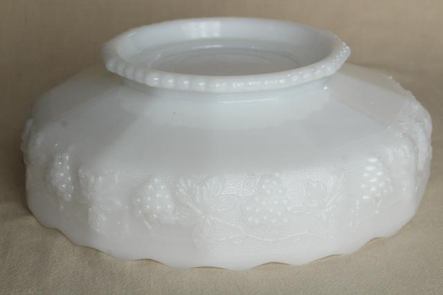 vintage grapes milk glass centerpiece bowl, Anchor Hocking paneled grape pattern